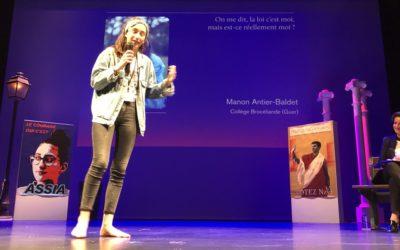 Manon Antier-Baldet élève de 3ème remporte le concours d'éloquence !