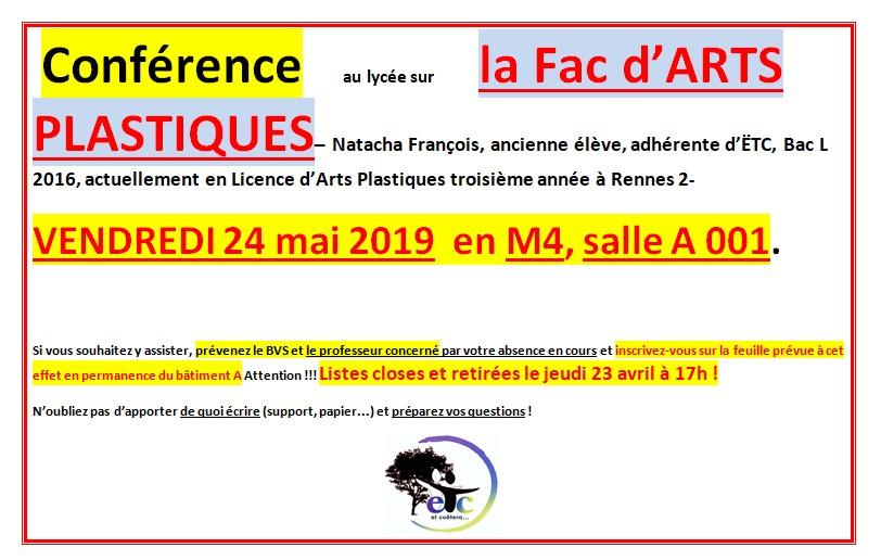 Conférence sur la Licence Arts Plastiques