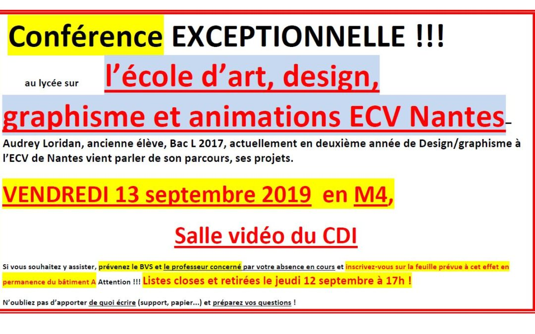 Conférence sur l'école d'art, design, graphisme et animations ECV Nantes
