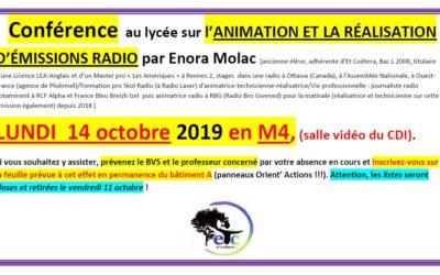 14 octobre : conférence sur l'animation et la réalisation d'émissions radio