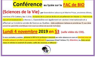 Lundi 4 novembre : conférence sur la Fac de Bio