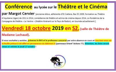 18 octobre : conférence sur le théâtre et le cinéma