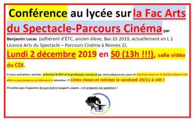 2 décembre : conférence sur la Fac Arts du Spectacle – Parcours Cinéma