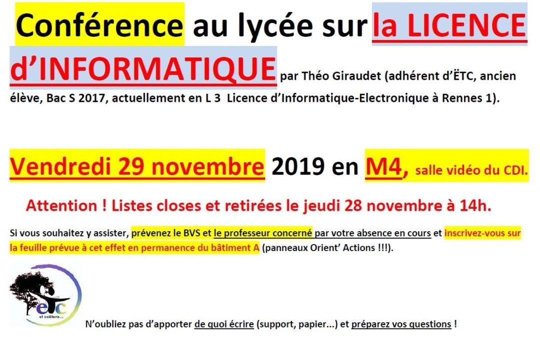Vendredi 29 novembre : conférence sur la Licence d'Informatique