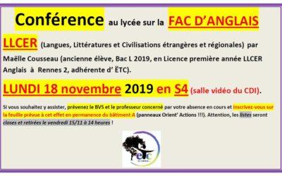 Lundi 18 novembre : conférence sur la Fac d'anglais