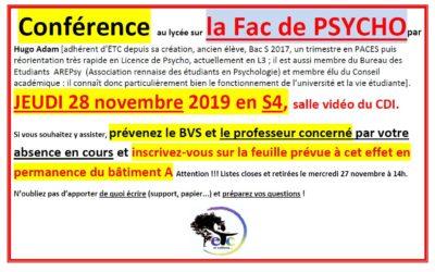 Jeudi 28 novembre : conférence sur la Fac de psycho