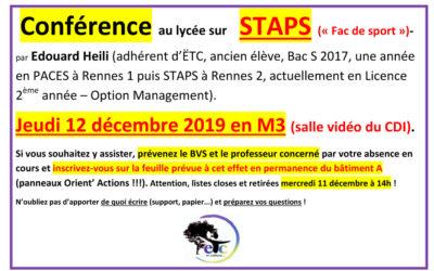 Jeudi 12 décembre : conférence sur la Fac de sport