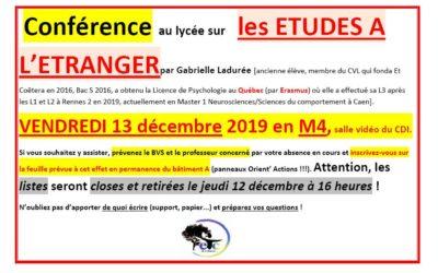 Vendredi 13 décembre : conférence sur les études à l'étranger