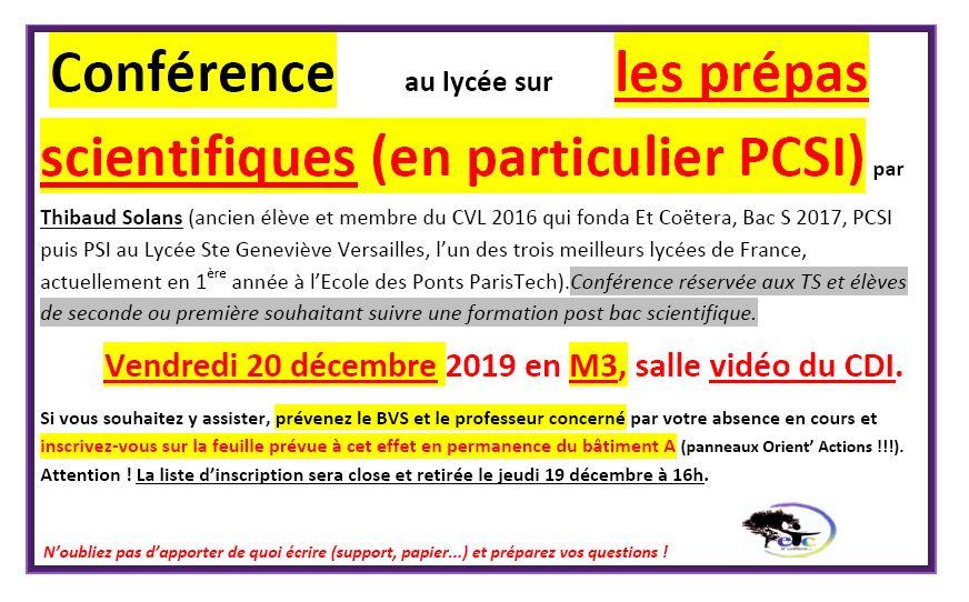 Vendredi 20 décembre : conférence sur les prépas scientifiques
