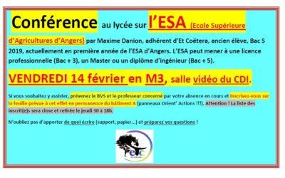 Vendredi 14 février : conférence sur l'ESA – Ecole Supérieure d'Agriculture d'Angers-