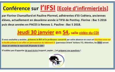 Jeudi 30 janvier : conférence sur l'IFSI – Ecole d'infirmier.e.s