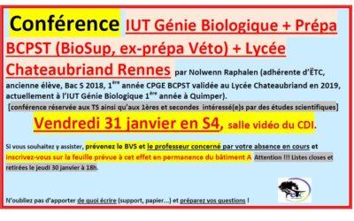 Vendredi 31 janvier : conférence sur l'IUT Génie Biologique + Prépa BCPST à Chateaubriand Rennes