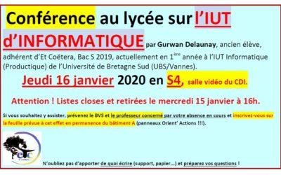 Jeudi 16 janvier : conférence sur l'IUT d'Informatique