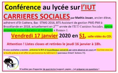 Vendredi 17 janvier : conférence sur l'IUT Carrières Sociales