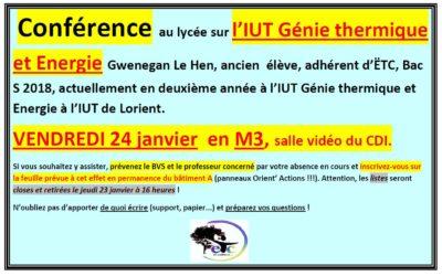 Vendredi 24 janvier : conférence sur l'IUT Génie Thermique et Energie