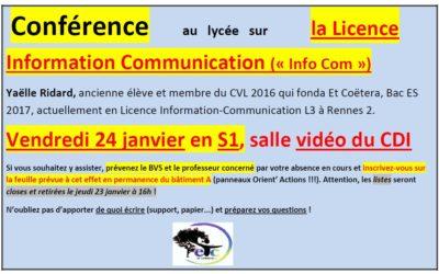 Vendredi 24 janvier : conférence sur la Licence Information Communication