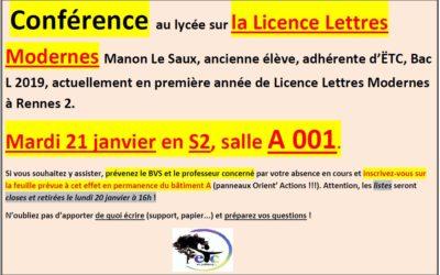 Mardi 21 janvier : conférence sur la Licence de Lettres Modernes