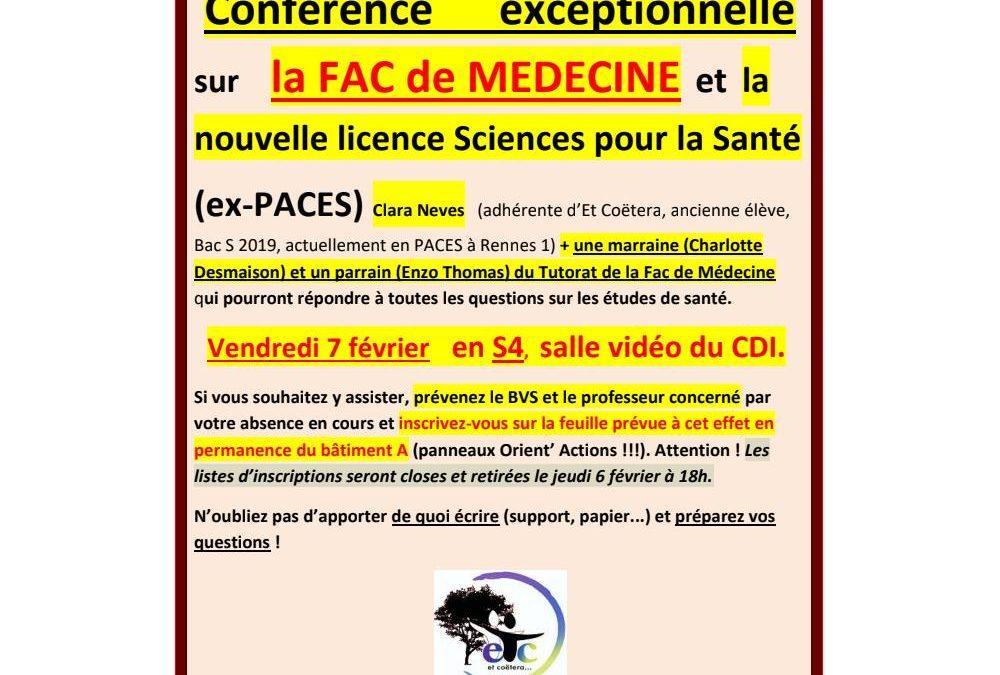 Vendredi 7 février : conférence EXCEPTIONNELLE sur la Fac de Médecine et la Licence Sciences pour la Santé