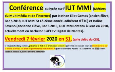 Vendredi 7 février : conférence sur l'IUT MMI – Métiers du Multimédia er de l'Internet –