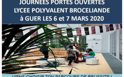 Portes Ouvertes au Lycée Polyvalent Brocéliande les 6 et 7 mars 2020