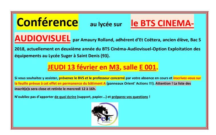 Jeudi 13 février : conférence sur le BTS Cinéma-Audiovisuel