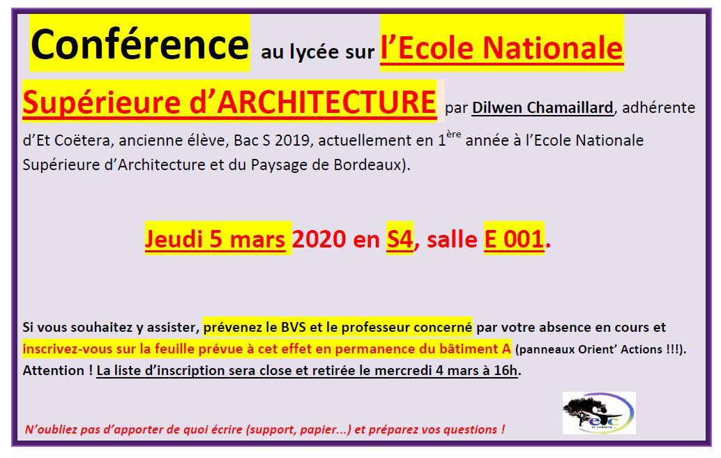 Jeudi 5 mars : conférence sur l'Ecole Nationale Supérieure d'Architecture et du Paysage