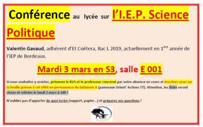Mardi 3 mars : conférence sur l'IEP de Bordeaux