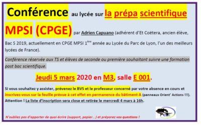 Jeudi 5 mars : conférence sur la prépa scientifique MPSI (CPGE)