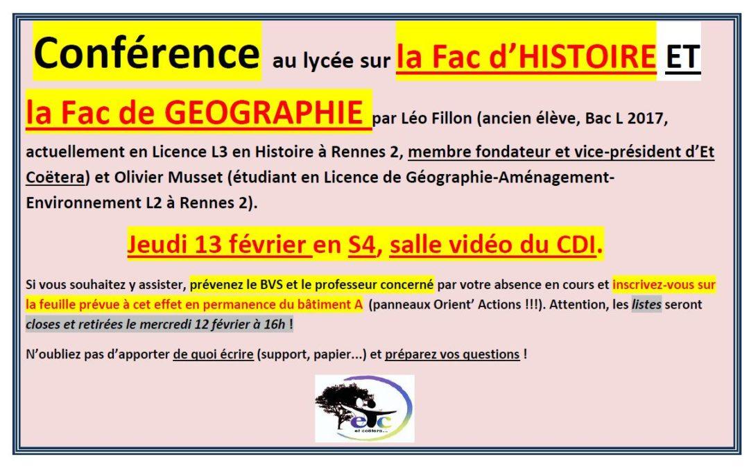 Jeudi 13 février : conférence sur la Fac d'Histoire et la Fac de Géographie