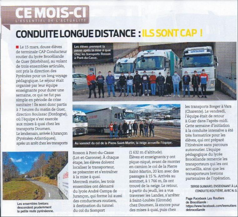 article routiers mai 2021